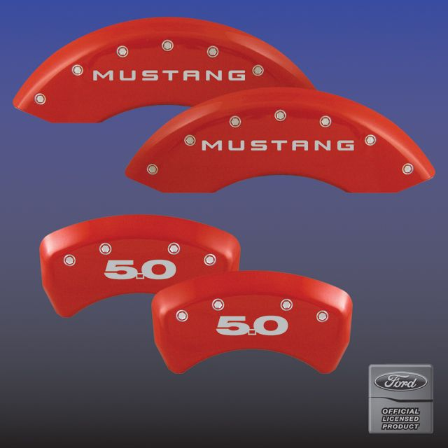 2011-2014 Mustang GT 5.0 Caliper Cover (Set of 4) - RED - 5.0 Logo