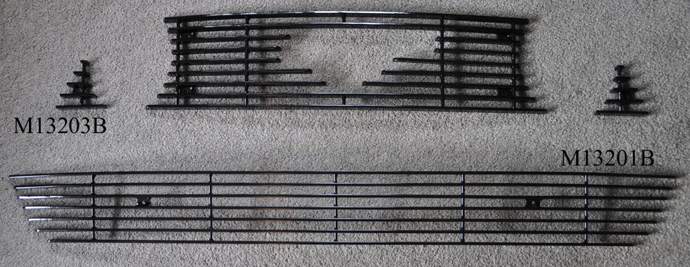 2013-14 Mustang GT - Upper 3PC Billet Grille with Pony Cut out - Black M13203B with Lower Black M13201B - COMBO