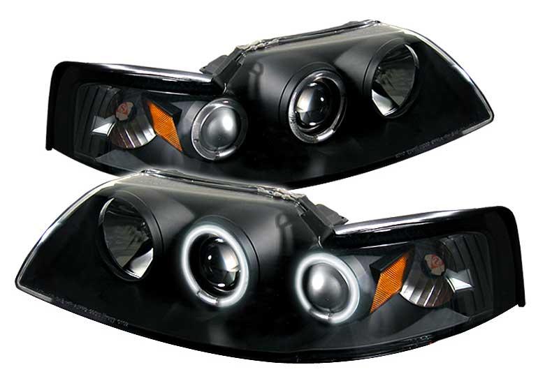 99 04 Mustang Headlights Projector Dual Angle Eyes Twin